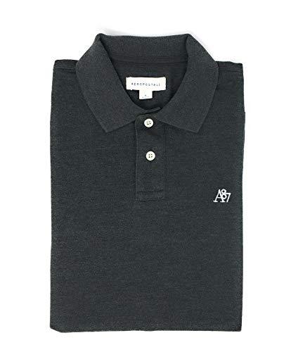 Aeropostale Men's Solid Uniform Logo Rugby Polo Shirt (Medium, Charcoal)