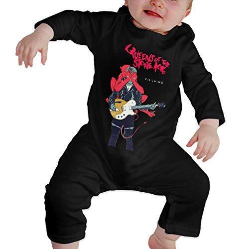 Reppusily Infant Boys and Girls Romper Classic Queens of The Stone Age Villains Casual Long Sleeve Jumpsuit 18M Black