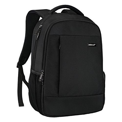 Minralu Laptop Backpack Slim Portable Business Backpack Unisex School College Backpack fit 14 inch Notebook Computer Black by Minralu
