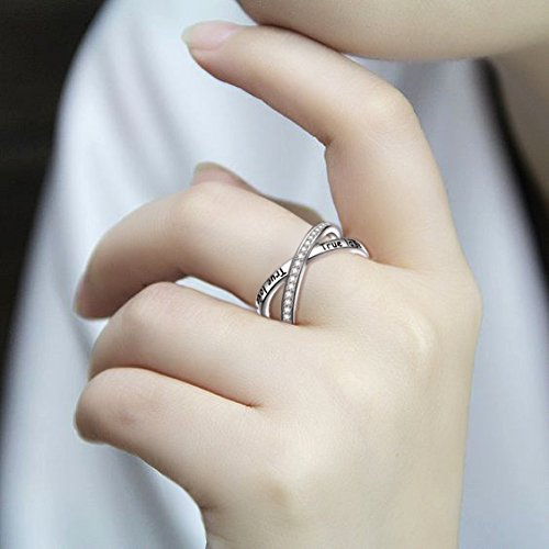 S925 Sterling Silver True Love Waits Infinity Criss Cross Rings for Women Lady, Size 7 by Silver Light Jewelry (Image #4)'