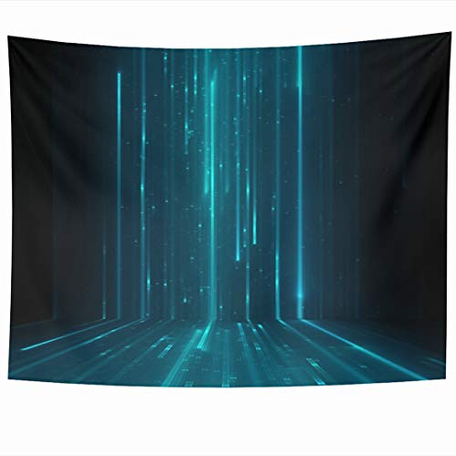 Virtual Matrix Software - Ahawoso Tapestry 90x60 Inch Floor Blue Grid Abstract Matrix Like Green Binary Cyber Techno Science Design Software Wall Hanging Home Decor for Living Room Bedroom Dorm