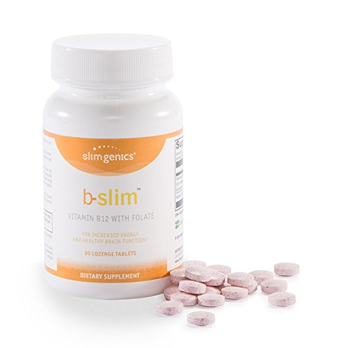 Slim Weekly - SlimGenics B-Slim ™ | Vitamin B12 + Folate - Supports Brain Function & Helps with Fatigue, Facilitates Protein and Fat Metabolization, Anti-Aging & Memory Retention Properties, Cherry Flavored - 30ct