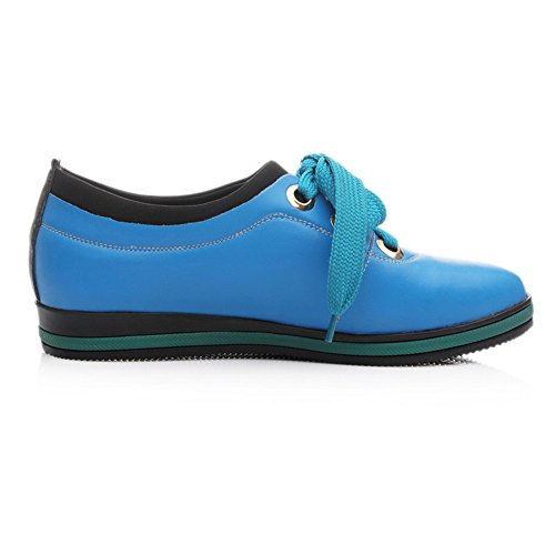 VogueZone009 Womens Closed Round Toe PU Soft Material Solid Pumps with Bandage, Blue, 2.5 UK