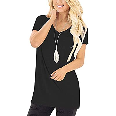 Jescakoo Tunic Tops for Women Short Sleeve Deep V Neck T Shirts at Women's Clothing store