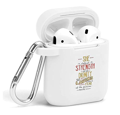 Case for Air Pods - Cute Flexible Protector Silicone Holder Cover with Keychain Accessories Compatible with Airpods She Christian ()
