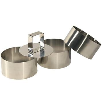 kb5455 - Moldes de acero para presentación de platos con accesorio para empujar (3 unidades, 8 x 4 cm): Amazon.es: Hogar