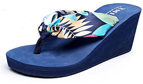 Per Good Blu Le Scuro Modo Spiaggia Donne Zeppa Stile Di Da Boemia Sandali Infradito Night Della rrBqwPS