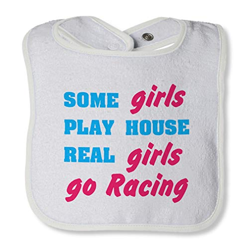 Some Girls Play House Real Girls Go Racing Cotton Boys-Girls Baby Terry Bib Contrast Trim - White, One Size