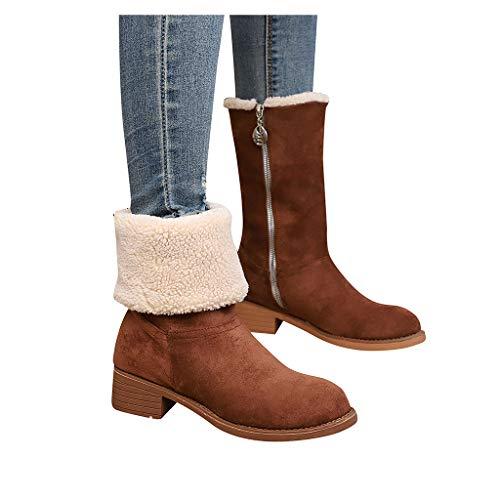 CmmYYrei Women Boots Winter Snow Boots Mid-Calf Flock Zipper Bootie Ankle Boots Side Zipper Cowboy Warm Shoes