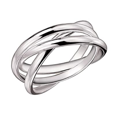 925 sterling silver 3 band rolling ring size 5 - Russian Wedding Ring