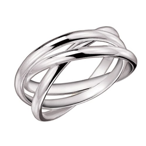925 Sterling Silver 3 Band Rolling Ring - Size 6 - Six Band Rolling Ring