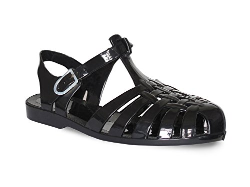 Chockers Shoes Women's Ladies Flat 90s Retro Beach Jelly Buckled Sandals for Summer Holidays Ankle Strap Waterproof Jellies Perfect for Swimming, Beach Walks - UK Sizes 3 4 5 6 7 8 Black