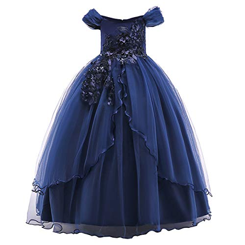 Kids Girl Off Shoulder Embroidery Flower Tulle Lace Long A Line Pageant Dress Wedding Birthday Party Floor Length First Communion Formal Princess Prom Holiday Dance Maxi Ball Gown Navy Blue 9-10