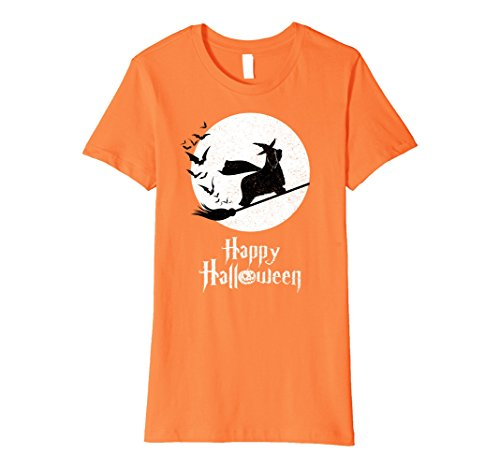 Womens Witch BEARDED COLLIE Dog Funny Halloween Costume T-Shirt Large Orange (Bearded Halloween Costume)