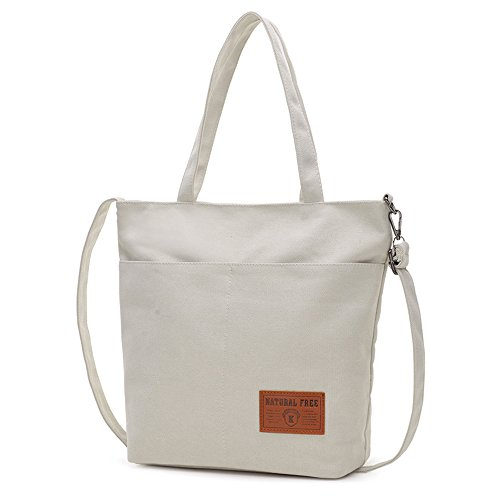 BYD - Unisex Men Mujeres Large School Bag Bolsos totes Shopping Bag Canvas Bag Color puro Carteras de mano Blanco