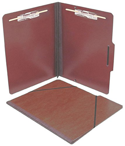 AMZfiling Red Pressboard Folio Folder with 2 Permclip Fasteners- Letter Size, Top Tab (15/Box) ()