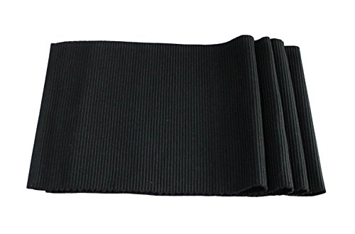 Best Token 4-piece 12″x18″ Placemats Kitchen Decoration Absorption Coasters Dining Table Mats Pad Heat-resistant (black)