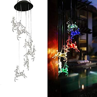 VC-Time Solar Wind Chimes Outdoor,Color Changing Waterproof Wind Mobile Chimes Outdoor Decor for Home,Night,Yard,Party,Festival, Patio,Garden Decoration