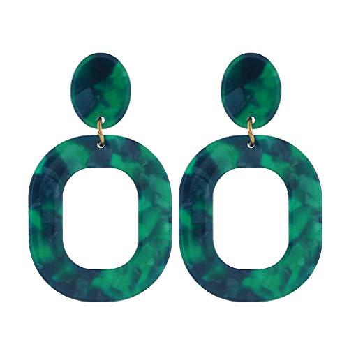 (Muranba Jewelry ! Creative Acetate Plate Geometry Elliptical Square Earrings Women's Jewelry (Green))