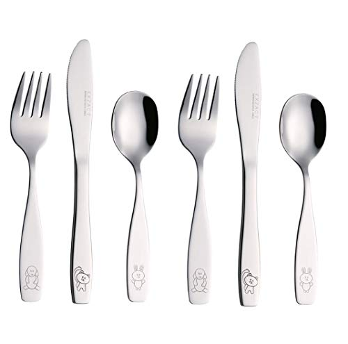 Exzact Children's Flatware 6 Pieces Set - Stainless Steel Cutlery/Silverware 2 x Forks