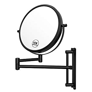 Lansi 10x Magnifying Wall Mounted Makeup Mirror,10X Magnification Makeup Mirror Adjustable Height Double-Sided Mirrors for Bathroom Vanity, Round Shape Matte Black