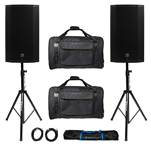 "(2) Mackie Thump12A THUMP-12A 12"" 2600w Powered DJ PA Speakers+Carry Bags+Stands"
