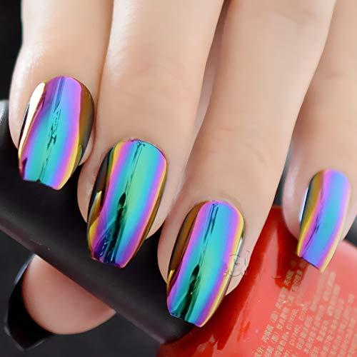 New Ballerina Nail Tips Hologram Chameleon Coffin Shape False Fake Nails Tip Salon Decorated Reflective Mirror Abalone Nail Z905 -