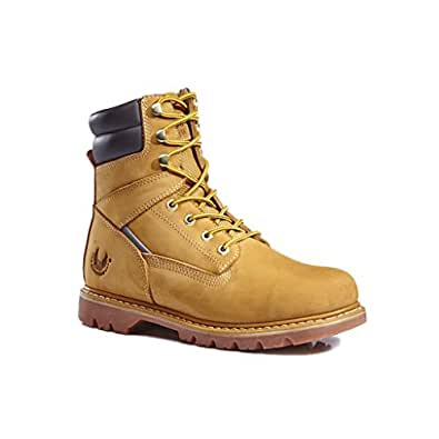 KS Men's 1312-1 Wheat Leather Rubber Sole Soft Toe Work Boots 6 M US