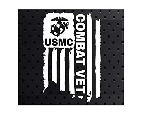 Distressed USMC Combat Vet Sticker United States Marine Corps Flag Bumper Vinyl Car Decal Truck Window Laptop Army US 3