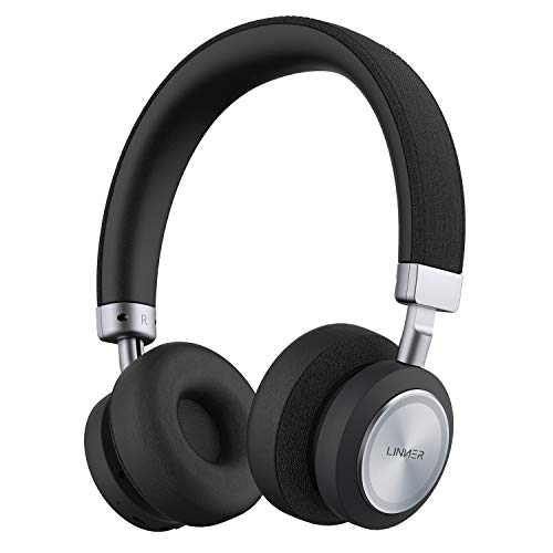 Linner NC80 Active Noise Cancelling Headphones, Bluetooth Headphones with Microphone Hi-res Audio Wireless Headphones On Ear Touch Controls with 34H Playtime for Travel Work Gaming- Black