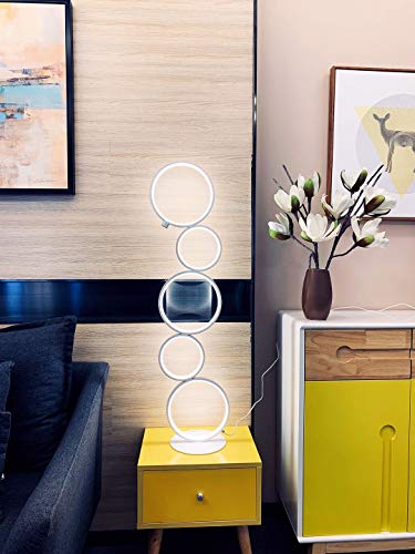 """Hillloong Modern Ring Style LED Floor Lamp Office Lamp Beautiful Decoration Piece for Your Home, Hotel and Office Use. Three Brightness Levels Dimmable with Touch Screen 1600 Lumens 3000K Warm White - 💡Beautiful Decoration Piece for your home, shop,office and hotel! Bring the light to your side! 💡This modern floor lamp is seamlessly integrated with both comtemporary and traditional room style. Standing up about 39"""" high and 7.9"""" in diameter of base, that small profile makes it fit in tight space such as coners, bookshelf or equipped with a pair to symmetrically decorate TV cabinets or sofa. 💡Brightness three levels, ON & OFF switch in one button! - living-room-decor, living-room, floor-lamps - 41c%2BWRgPYiL -"""