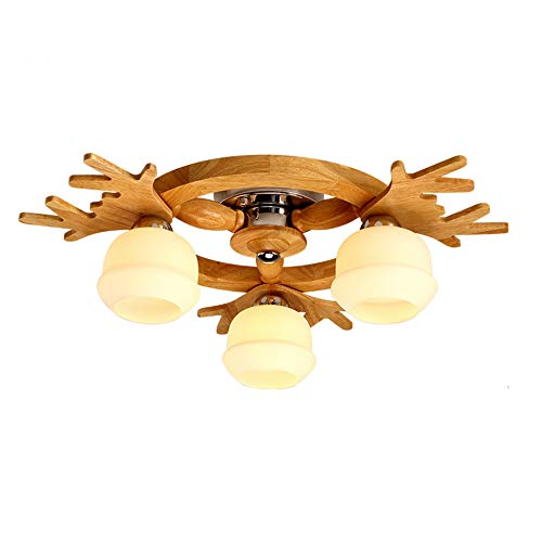 Wood Ceiling Light Fixture Living Room, E26 Base Antlers Ceiling lamp Northern Europe Living Room Creative Flush Mount Hallway Aisle-70x22cm