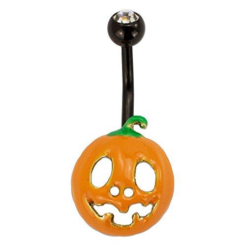 emoji Stainless Steel 14G Pumpkin Halloween Belly Button Ring Body Piercing Fun Emoticon Navel Ring Women 7/16