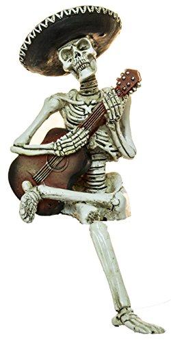Halloween Decoration- 10 inch Mariachi Skeleton Playing Guitar (Sitter Skeleton Shelf)