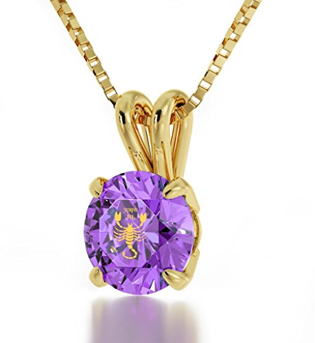 Gold Plated Zodiac Pendant Scorpio Necklace 24k Gold inscribed on Light Purple Crystal, 18""