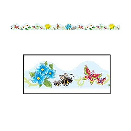 School Bees Border Trim - Bargain World Butterflies, Flowers, and Bees Border Trim (12pcs/pkg) (with Sticky Notes)