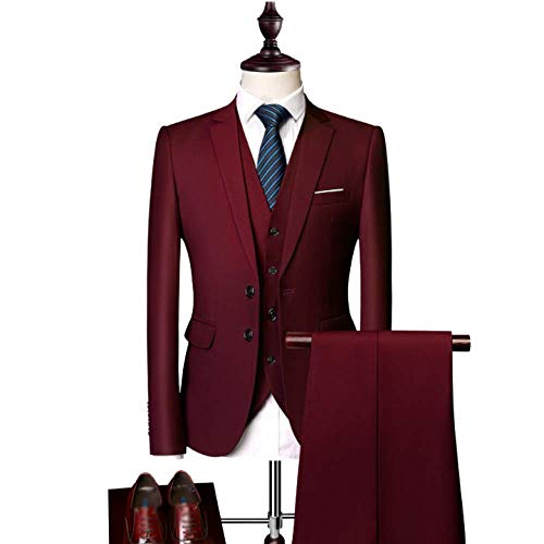Affaires Hommes Winered Pièces Rlrl Mode Loisirs Slim Trois Costumes FSxanA