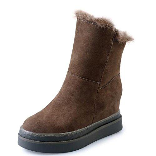 tonda HSXZ per punta Nubuck Mid stivali pelle scarponi nero Winter da Boots Khaki Calf in Snow Scarpe Casual donna kaki PqwPrSZ