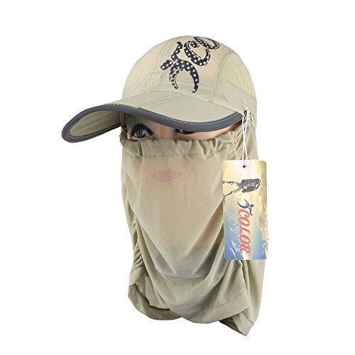 6ba7b70d6c7 ICOLOR UPF 50+Light Weight Sun Hat Cap Quick Drying Removable Neck Flap  Cover