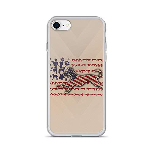 (iPhone 7/8 Pure Clear Case Cases Cover Patriotic Greyhound Mini American USA Flag Cute Animal Happy 4th of July )