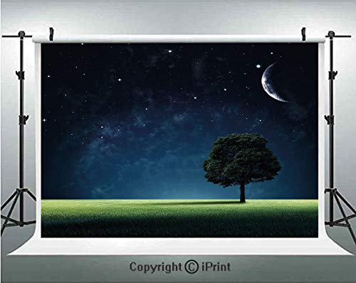 Night Photography Backdrops Abstract Natural Composition with Lonely Tree in Park Crescent Moon in Sky Decorative,Birthday Party Background Customized Microfiber Photo Studio Props,10x6.5ft,Dark Blue
