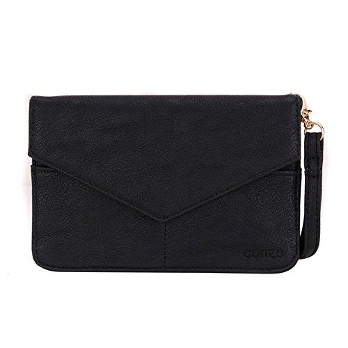 Conze Mujer embrague cartera todo bolsa con correas de hombro compatible con Smart teléfono para Samsung Galaxy S5Mini negro negro negro