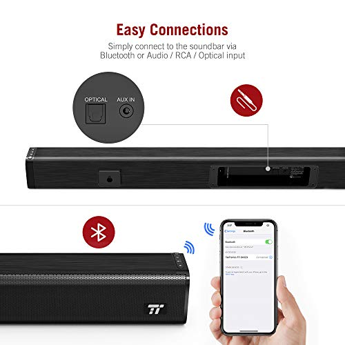 Soundbar, TT-SK023 TaoTronics Three Equalizer Mode Audio Speaker for TV, 32-Inch Wired & Wireless Bluetooth 4.2 Stereo Soundbar, Optical/AUX/RCA Connection, Wall Mountable, Remote Control, Black by TaoTronics (Image #3)