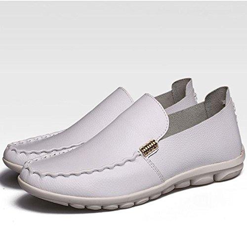 de Zapatos Hombres de Cuero Blanco Verano Ocasionales de los Respirables conducción de Zapatos qawgaxrXt