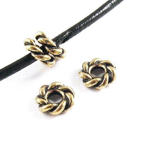 TierraCast Large 2.5mm Hole Pewter Beads-GOLD TWISTED SPACER 8mm (4)