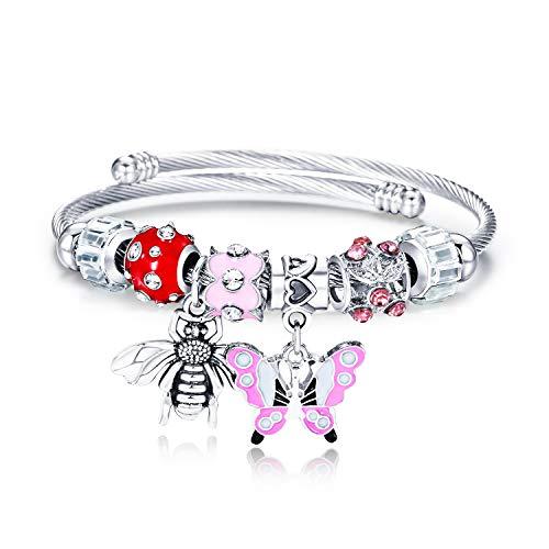 - Lateefah Bracelet for Teen Girls - Beaded Bangle Charm Bracelets for Women Stainless Steel Butterfly Bee Pendant Bangle Bracelet Best Daughter Gifts & Birthday Gifts