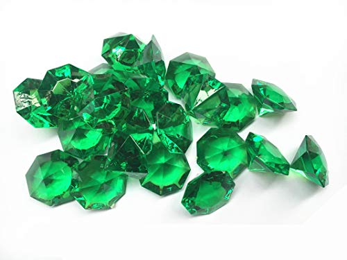 25 Carta Acrylic Diamonds, 1.2 Inch Acrylic Colorful Round Treasure Gemstones Faux Round Confetti Diamond Crystals for Table Scatters, Vase Fillers, Party Decoration, Pack of 35 Pcs (Emerald Green)