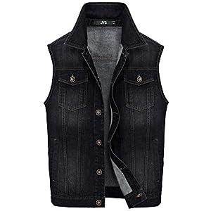 Men's Big & Tall Denim Vest Unlined Motorcycle Jean Jacket
