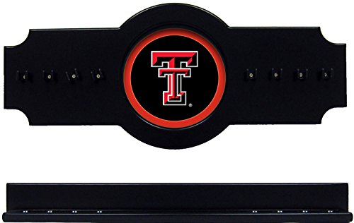 NCAA Texas Tech Red Raiders TXTCRR100-B 2 pc Hanging Wall Pool Cue Stick Holder Rack - Black (Red Raiders Pool Cue)