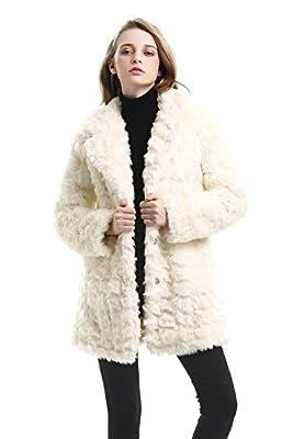 JOLLYCHIC Women's Embossed Mid Length Winter Warm Faux Fur Coat Jacket